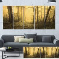Designart 'Trail Through Yellow Foggy Forest' Landscape Photo Canvas Print