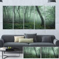 Designart 'Trail Through Dark Foggy Forest' Landscape Photo Canvas Print - Green