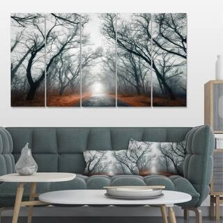 Designart 'Mystic Road in Forest' Landscape Photo Canvas Print - Brown