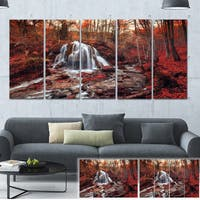 Designart 'Silver Stream Waterfall Close-up' Landscape Photo Canvas Print - Silver