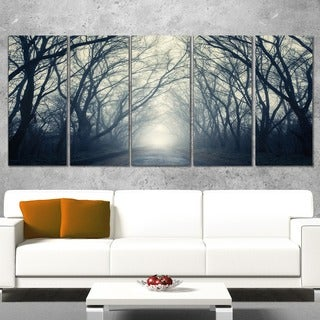 Designart 'Dark Autumn Forest in Fog' Modern Photography Canvas Print