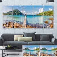 Designart 'Pier to the Island Panorama' Landscape Photo Canvas Print - Multi-color
