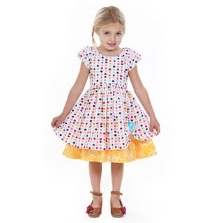 Jelly the Pug Girls' Katlin Polka Dot Cap Sleeve Round Neck Dress