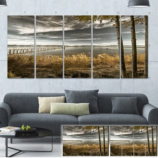 Designart 'Pier in Brown Lake' Landscape Photo Canvas Art Print