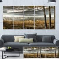 Designart 'Pier in Brown Lake' Landscape Photo Canvas Art Print