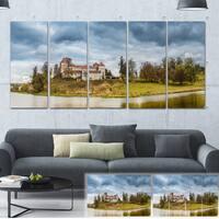 Designart 'Castle by the Lake' Landscape Photo Canvas Art Print - Blue
