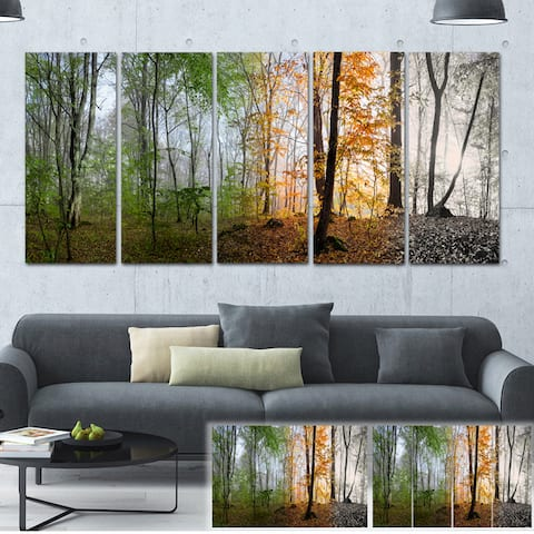 Designart 'Morning Forest Panorama' Landscape Photo Canvas Print - Green