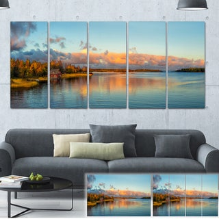 Designart 'Autumn Sunset Panorama' Landscape Photo Canvas Print - Green
