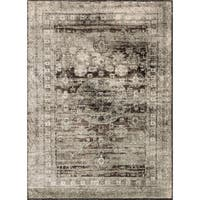 "Traditional Grey/ Brown Medallion Distressed Rug - 9'6"" x 13'"