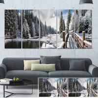 Designart 'Winter Morning Panorama' Landscape Photo Canvas Print - Brown