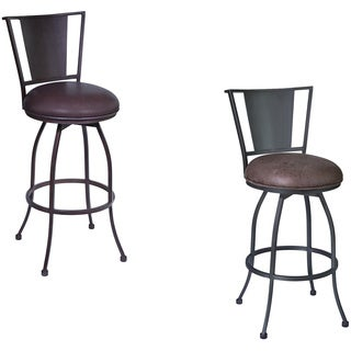 Armen Living Dynasty Barstool in Mineral Finish with Bandero Tobacco Fabric