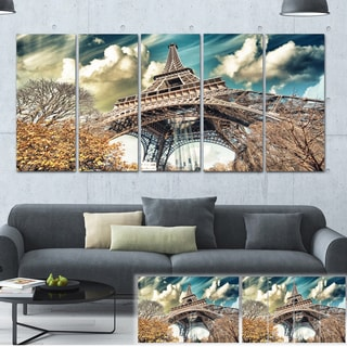 Designart 'Street View of Eiffel Tower' Cityscape Digital Art Canvas Print