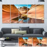 Designart 'Water inside Arizona Wave' Landscape Photo Canvas Print - Brown