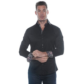 Isaac B. Solid Black Long Sleeve Paisley Cuffs Button Down Shirt