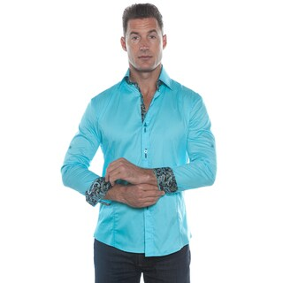 Isaac B. Blue Solid Long Sleeve Button Down Shirt
