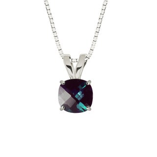 Sterling Silver Checkerboard Cushion 8mm Lab-created Alexandrite Pendant Necklace