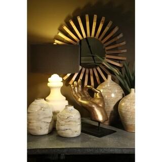 Hand Blown Painted Urn Vase in Smoke Finish