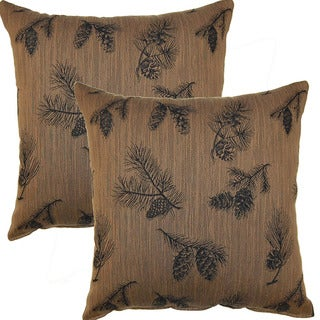 P-inche Cone Ridge Tobacco 19-inch Throw Pillows (Set of 2)