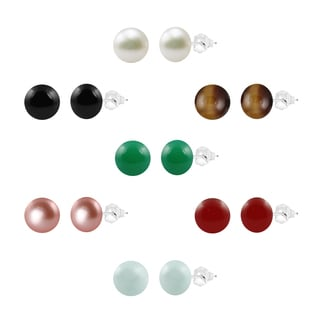 Sterling Silver 8-8.5mm Freshwater Cultured Round Button Pearl and Round Gemstone Bead 7-Piece Box Set