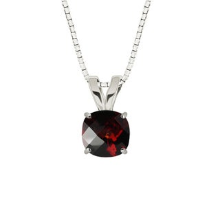 Sterling Silver Checkerboard Cushion 8mm Garnet Pendant Necklace