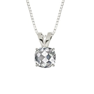 Sterling Silver Checkerboard Cushion 8mm Genuine White Topaz Pendant Necklace