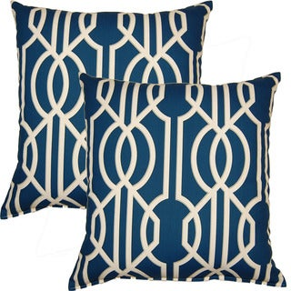 Deco Navy 17-inch Throw Pillows (Set of 2)