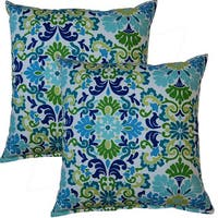 Folk Damask 17-inch Throw Pillows (Set of 2)