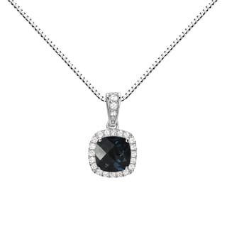 Sterling Silver Checkerboard Cushion London Blue Topaz Halo Pendant Necklace