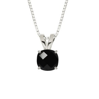 Sterling Silver Checkerboard Cushion 8mm Black Onyx Pendant Necklace
