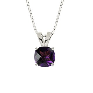 Sterling Silver Checkerboard Cushion 8mm Amethyst Pendant Necklace