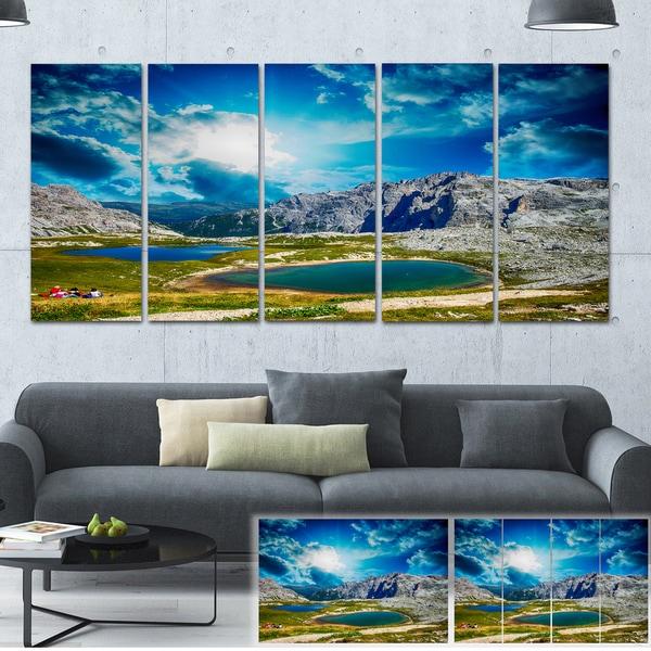Designart 'Sunset over Alpine Lakes' Landscape Photo Canvas Print - Green