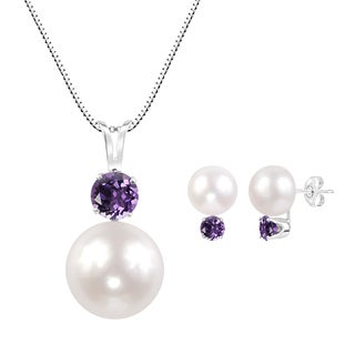 Sterling Silver White Freshwater Cultured Round Button Pearl and Round Amethyst Pendant and Earring Set