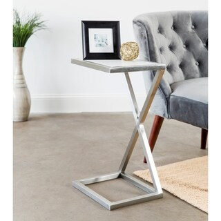 Forged Iron Accent Table with Stone Tabletop and Chrome Finish