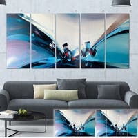 Designart 'Blue Panoramic Abstract Design' Abstract Canvas Art Print - Blue