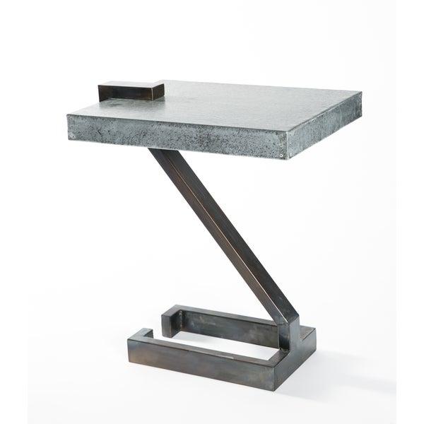 Handmade Z Shape Fire Finish Metal End Table