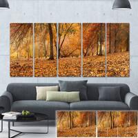 Designart 'Brown Autumn Panorama' Landscape Photo Canvas Print - Brown