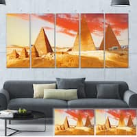 Designart 'Great Pyramids at Giza' Landscape Canvas Art Print - YELLOW