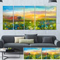 Designart 'Sunset Meadow Landscape' Oil Painting Canvas Print - Green