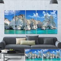 Designart 'Greek Holidays' Cityscape Photo Canvas Art Print - Blue