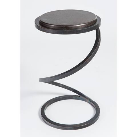 Handmade Natural Fire Finish Spiral Accent Table (Mexico)