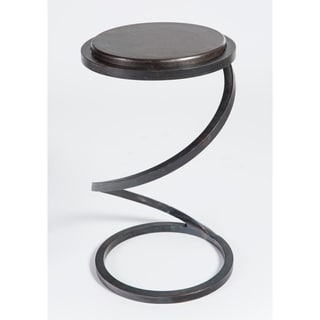 Spiral Accent Table with Industrial Wood Top