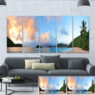 Designart 'Beach Sunset with Clouds' Landscape Photo Canvas Print
