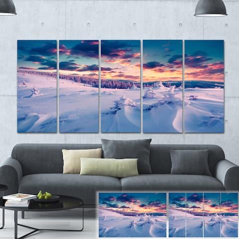 Designart 'Winter in Carpathian Mountains' Landscape Photo Canvas Print - Purple
