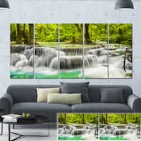 Designart 'Erawan Waterfall View' Photography Canvas Print - Green