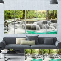 Designart 'Kanchanaburi Erawan Waterfall' Photo Canvas Print - Green