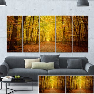 Designart 'Pathway in Green Autumn Forest' Photo Canvas Print