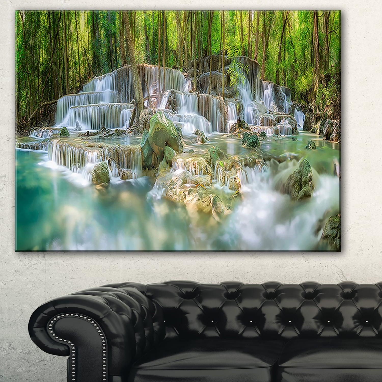Designart Level 6 Of Huaimaekamin Waterfall Landscape Canvas Print Green Overstock 11664347