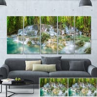 Designart 'Level 6 of Huaimaekamin Waterfall' Landscape Canvas Print - Green