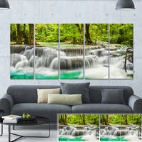Designart 'Panoramic Erawan Waterfall' Landscape Photo Canvas Print - Green