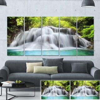 Designart 'Rushing Huai Mae Kamin Waterfall' Landscape Photo Canvas Print